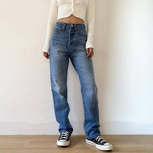 Women's Jeans Baggy Jeans For Women 2020 Mom Jeans High Waist Blue Loose Washed Fashion Straight Denim Pants Vintage Streetwear |  | akolzol