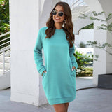 Leosoxs Autumn Winter O Neck Long Sleeve Women's Sweatshirt Dress 2020 New Fashion Solid Loose Pocket Ladies Mini Dress Vestidos | akolzol