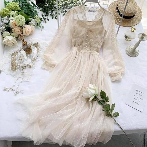 Spring Autumn 2020 New Elegant Slim v-neck Mesh Dress Women Sweet Hollow Out Lace Dress High Waist Two Peices Women's Sets Mh547 | akolzol