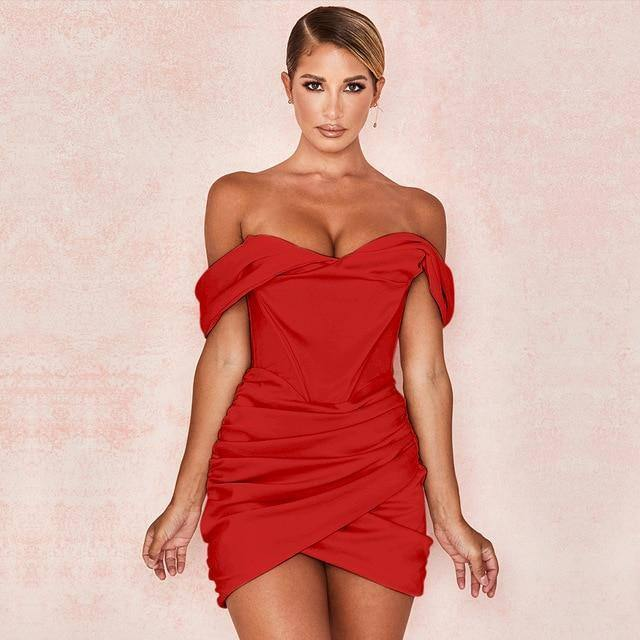 JillPeri Off the Shoulder Ruched Mini Dress Fashion Christmas Celebrity Satin Pink Birthday Club Outfits Women Sexy Party Dress |  | akolzol