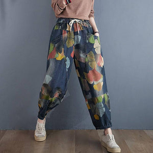 Women High Waist Jeans New Arrival 2020 Autumn Streetwear Vintage Floral Print Loose Female Casual Denim Harem Pants S1845 |  | akolzol