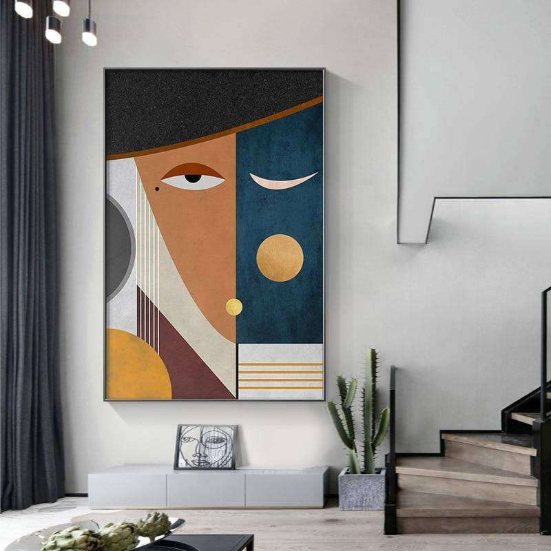 Modern Figure Abstract Geometric Canvas Painting Contemporary Art Poster Print Faces Wall Art Picture for Living Room Home Decor |  | akolzol
