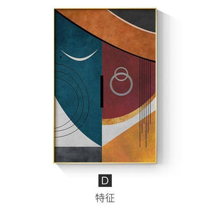 Modern Figure Abstract Geometric Canvas Painting Contemporary Art Poster Print Faces Wall Art Picture for Living Room Home Decor | akolzol