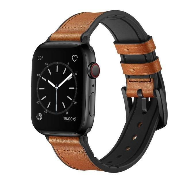 Silicone+Leather strap for Apple watch band 44mm 40mm 42mm 38mm Genuine Leather watchband bracelet iWatch series 5 4 3 SE 6 band | akolzol