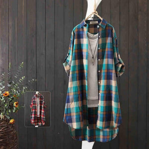 100% Cotton Plaid Shirt Long Sleeve 2020 Women Autumn Summer New Fashion Button Up Casua Loose Blouse Plus Size | akolzol