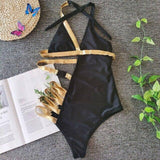 Gold Strappy One Piece Swimsuit Women Push Up Swimwear 2020 Ladies Monokini Badpak Mujer Female Beachwear Sexy Halter Monokini |  | akolzol