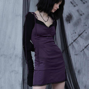InsGoth Sexy Spaghetti Straps Bodycon Gothic Black Dress Women Streetwear Black Lace Up Mini Female Dress Casual Purple Dress