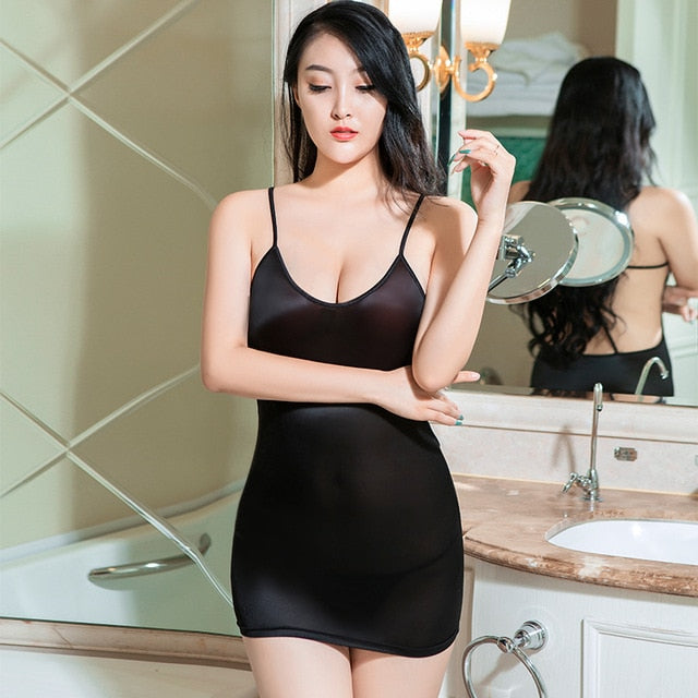 Sexy Erotic Clubwear Package Hip Dress Oil Shiny Backless Bandage See Through Sheer Porn Dress Bodycon Mini Transparent Dresses |  | akolzol