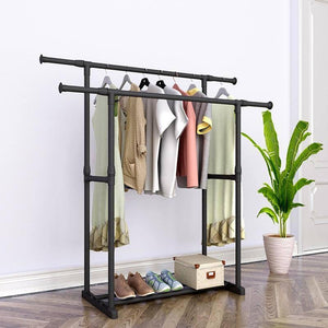 Double Pole Coat Rack Reinforced Steel Frame Clothing Rack Bedroom Furniture Mobile Drying Rack Minimalist Floor Clothes Hanger |  | akolzol