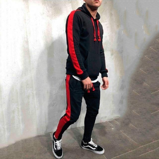 2 Pieces Sets Tracksuit Men Brand Autumn Winter Hooded Sweatshirt +Drawstring Pants Male Stripe Patchwork Hoodies | akolzol