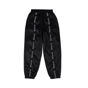 2020 Women Pants Joggers Pants Women Glossy Ribbon Trousers Harajuku Sweatpants Women's Loose Cargo Pants Big Pocket Satin High | akolzol
