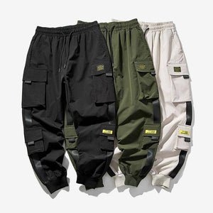 2020 New Hip Hop Joggers Cargo Pants Men Harem Pants Multi-Pocket Ribbons Man Sweatpants Streetwear Casual Mens Pants S-5XL | akolzol