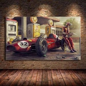 Vintage Car Poster Ferraris Classic Racing F1 Race Car Artwork Wall Art Picture Print Canvas Painting For Home Living Room Decor | akolzol