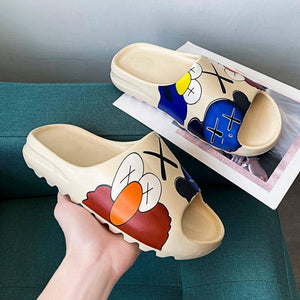 Men's Summer Slides Breathable Cool Beach Sandals Flip Flops Fish Mouth Men & Women Slippers Lightweight Graffiti Big Size 34-46 | akolzol