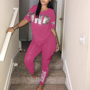 Casual 2 Piece Sets Women's Suit Tracksuits Set Pink Letter Print Plus Size Sweatsuit 3XL Top And Skinny Pants 2pcs Outfits