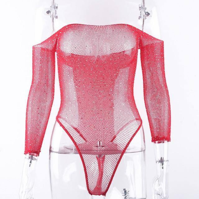 OMSJ Lady Glitter Rhinestones Slash Neck Sexy Bodysuit Fishing Net Mesh Transparent Full Sleeve Backless Slim Club Party Rompers | akolzol