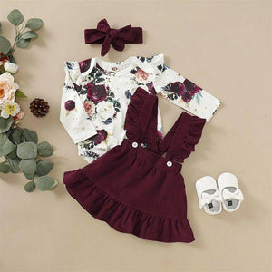 Newborn  Baby Girl Clothes Set Floral Bodysuit Romper Jumpsuit Tops T Shirt  Suspender Skirts Bow Headband Outfit |  | akolzol