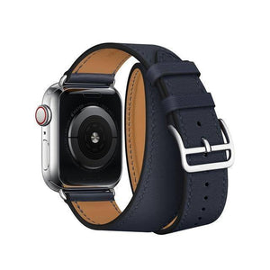 For Apple Watch 6 Band Genuine Swift Leather Apple Watch Strap Double Single Tour Strap Bracelet for iWatch 5 4 3 2 1 Wristband | akolzol