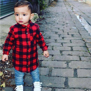 Newborn Unisex Clothes Autumn Top Baby Boy Shirt CHild Long Sleeve Plaid Shirts Kid Girl Cotton Blouse Baby Girl Clothes