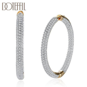 925 Sterling Silver Big Circle Hoop 18K Gold AAA Zircon Earrings For Women Gift Fashion Charm Party Wedding Jewelry | akolzol