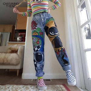 Women's Cartoon Printed Jeans Atumn Winter Girls Harem Pant Trousers Single Breasted Plus Size Female Hight Waist Denim Jean | akolzol