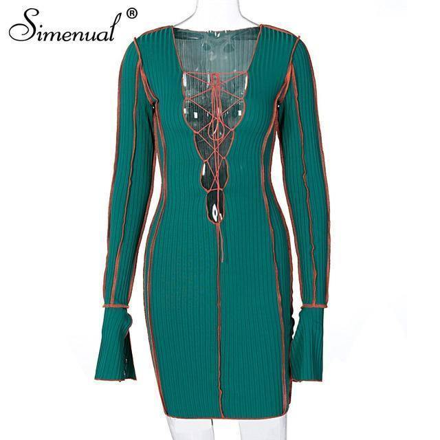 Simenual Lace Up Deep V Neck Ribbed Long Sleeve Bodycon Dresses Women Patchwork Hot Club Partywear Sexy Fashion Mini Dress Fall | akolzol