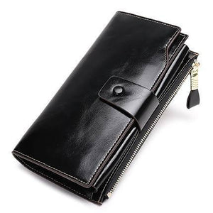 Vintage Luxury Women Wallets Genuine Leather Long Zipper Clutch Purse Large Capacity Card Holder Wallet |  | akolzol