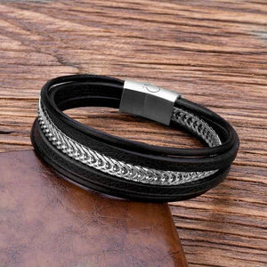 TANGYIN Luxury Punk Stainless Steel Chain Combination Leather Bracelet Multi-layer Accessories Personality Men Bracelet Gifts | akolzol