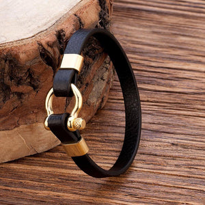 TANGYIN Best Selling New Classic Hip Hop Rock Style Geometric Circle Toggle-clasps Men's Leather Bracelet Men Meaningful Gift | akolzol