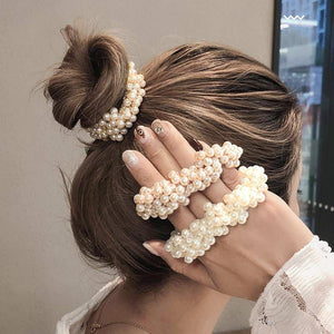 Woman Big Pearl Hair Ties Fashion Korean Style Hairband Scrunchies Girls Ponytail Holders Rubber Band Hair Accessories