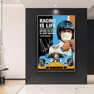 24 Hours Of Le Mans Michael Delaney On Canvas Print Nordic Poster Wall Art Picture For Living Room Home Decoration Frameless | akolzol