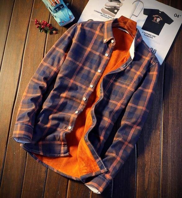 Flannel Plaid Shirts Men Winter Warm Thick Fleece Long Sleeve Shirt Male Cotton Casual clothing Camisa Masculina Big Size 5XL |  | akolzol