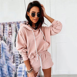 VS&LLWQ 2 Piece Set Women Summer O-Neck Casual Crop Top 2020 Female Clothing Tracksuit Pockets Loose Shorts Two Piece | akolzol