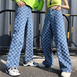 Harajuku Unisex Pants Plaid Pattern Loose Long Women Men Pant Outwear Fashion Blue Jeans Cargo Pants Streetwear Hipster Autumn | akolzol