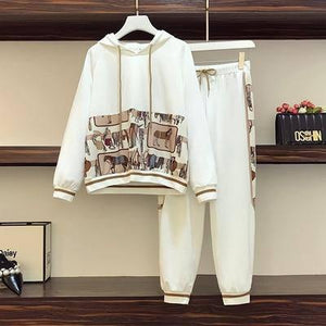 Plus Size Tracksuit Women Autumn 2020 Long Sleeve Hoodies And Loose Casual Elastic Waist Pants Cotton Two Piece Clothes 5XL | akolzol
