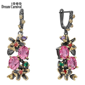 DreamCarnival1989 New Colorful Antique Earrings for Women Vintage Flower Style Fuchsia Zircon Dating Jewelry Drop Ships WE3874FU |  | akolzol