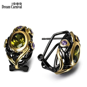 DreamCarnival 1989 CZ Stud Earrings Women Olivine Purple Gold Color Gothic Black Wedding Jewelry Mulheres Brincos Female E023 |  | akolzol