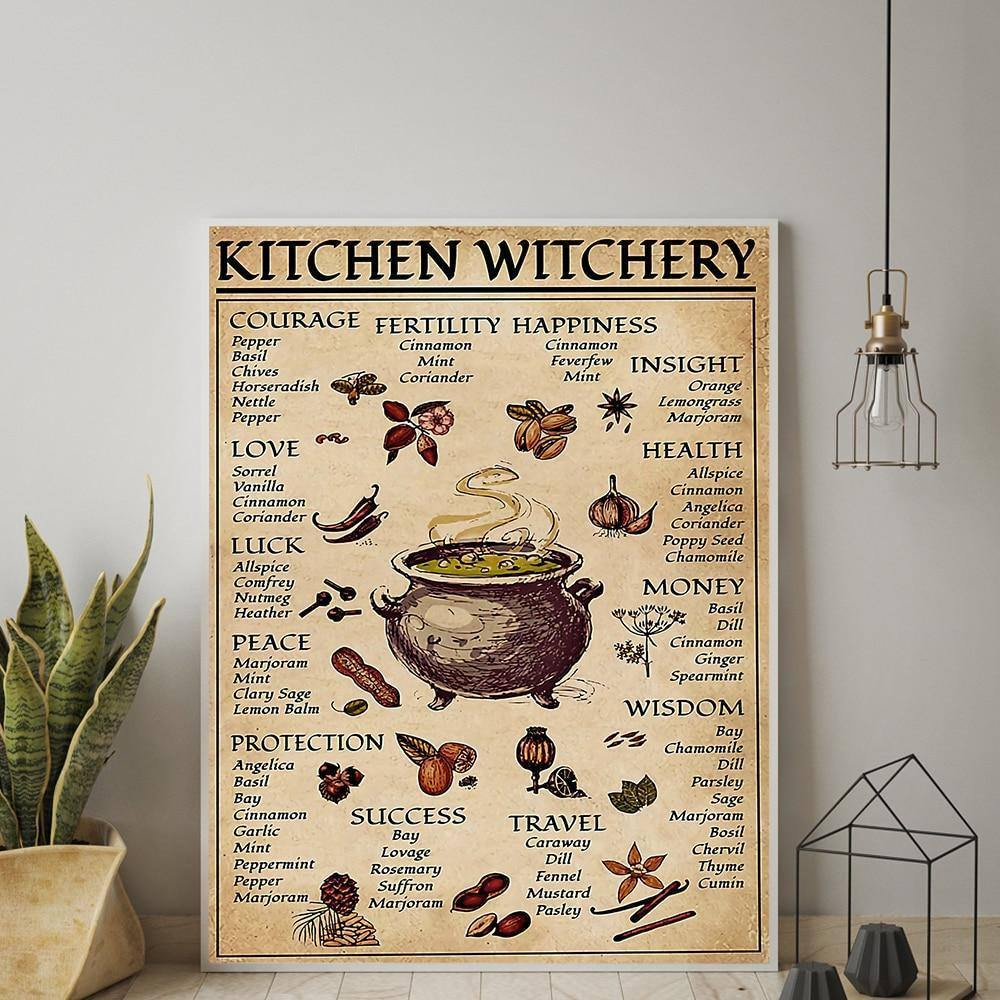 Kitchen Witchery Funny Posters and Prints Decoration Canvas Wall Pictures Witches Magic Knowledge Art Painting Gifts Home Decor | akolzol