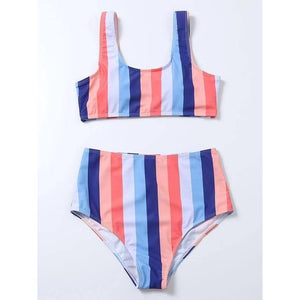 High Waist Bikini 2021 Sexy Striped Swimsuit Women Swimwear Female Push up Bikini Set Swimming Wear for Bathing Suit Swimsuits | akolzol
