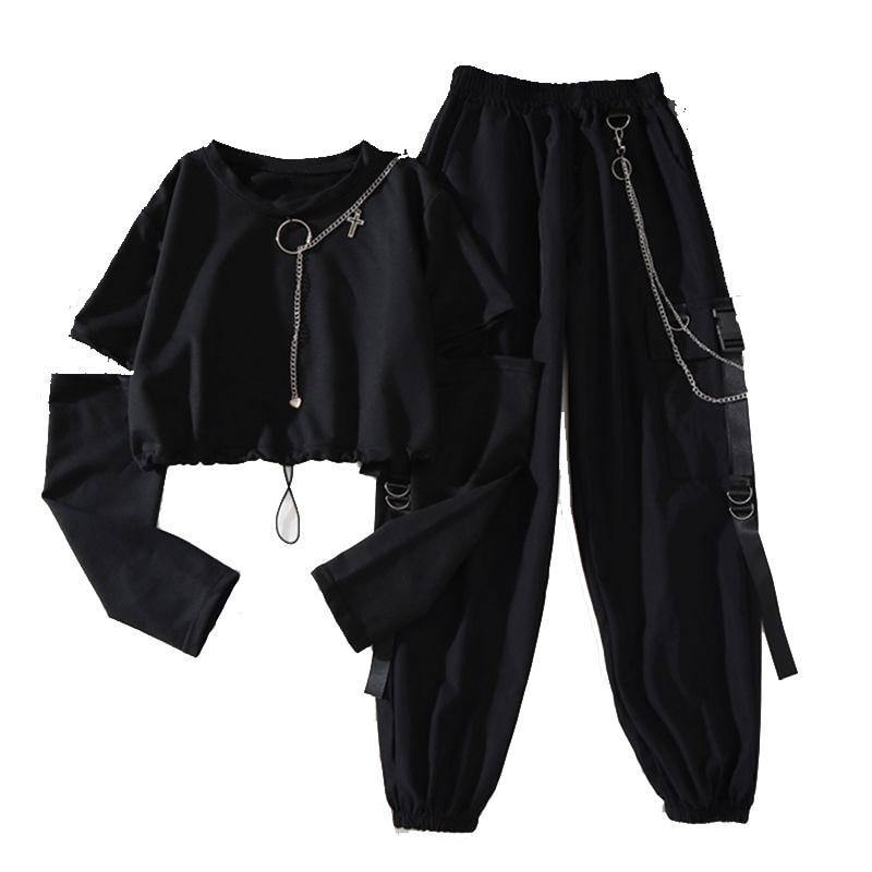 Spring Autumn Women Harajuku Cargo Pants Handsome Cool Two-piece Suit Chain Long Sleeve+Ribbon Pants | akolzol