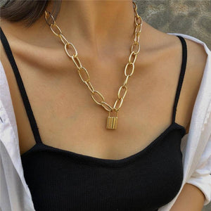 Lock Pendants Punk Necklaces for Women Gold Color Hollow Chain Personality Female Neck Jewelry gothic Neck Decoration