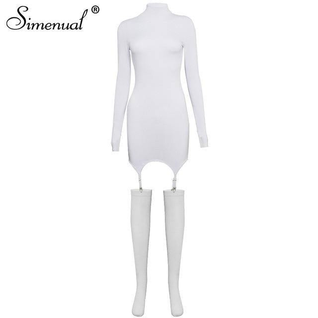 Simenual Solid Bodycon Garter Women Mini Dress with Stocking Long Sleeve Sexy Clubwear Skinny Party Dresses Autumn 2021 Hot Slim | akolzol