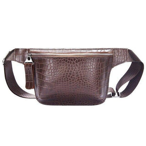 Casual Waist Bag for Women Alligator Leather Fanny Pack Phone Pouch Chest Packs Ladies Wide Strap Belt Bag Female Crossbody Flap | akolzol