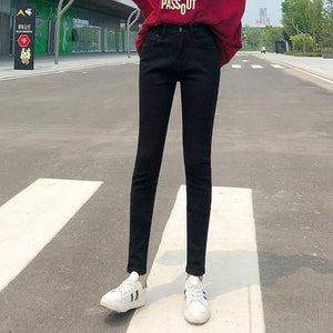 NEW Women Stretch High Waist Classic Retro  Jeans Lady Plus Size 38 40 Skinny Pants Push Up Leggings Mom Jeans Pencil Trousers | akolzol
