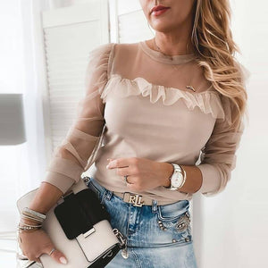 Mesh Ruffle Leopard Print Women's Blouse Autumn See Through Long Sleeve Female Tops And Blouses 2021 New Casual Ladies Clothes