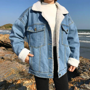 casual thick warm blue Winter coat for women New student style Autumn Lamb wool Jeans Denim Jackets snow Basic female coat NZY68 |  | akolzol