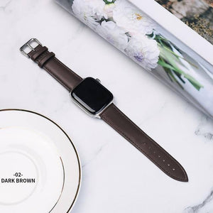 Brown Leather Band Loop Strap For Apple Watch 6 SE 5 4 3 2 1 38mm 40mm Men Leather Watch Band For Iwatch 5 44mm 42mm Bracelet | akolzol