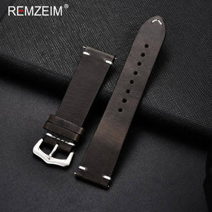 REMZEIM Retro Genuine Leather Watchband 18mm 20mm 22mm 24mm for Samsung Galaxy Watch 42mm 46mm Bracelet Watchband Strap | akolzol