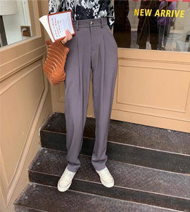 HziriP Elegant Formal High Waist Harem Straight Pants Women Bottom 2020 New Autumn OL Solid Fashion Loose Suit Trousers Female | akolzol