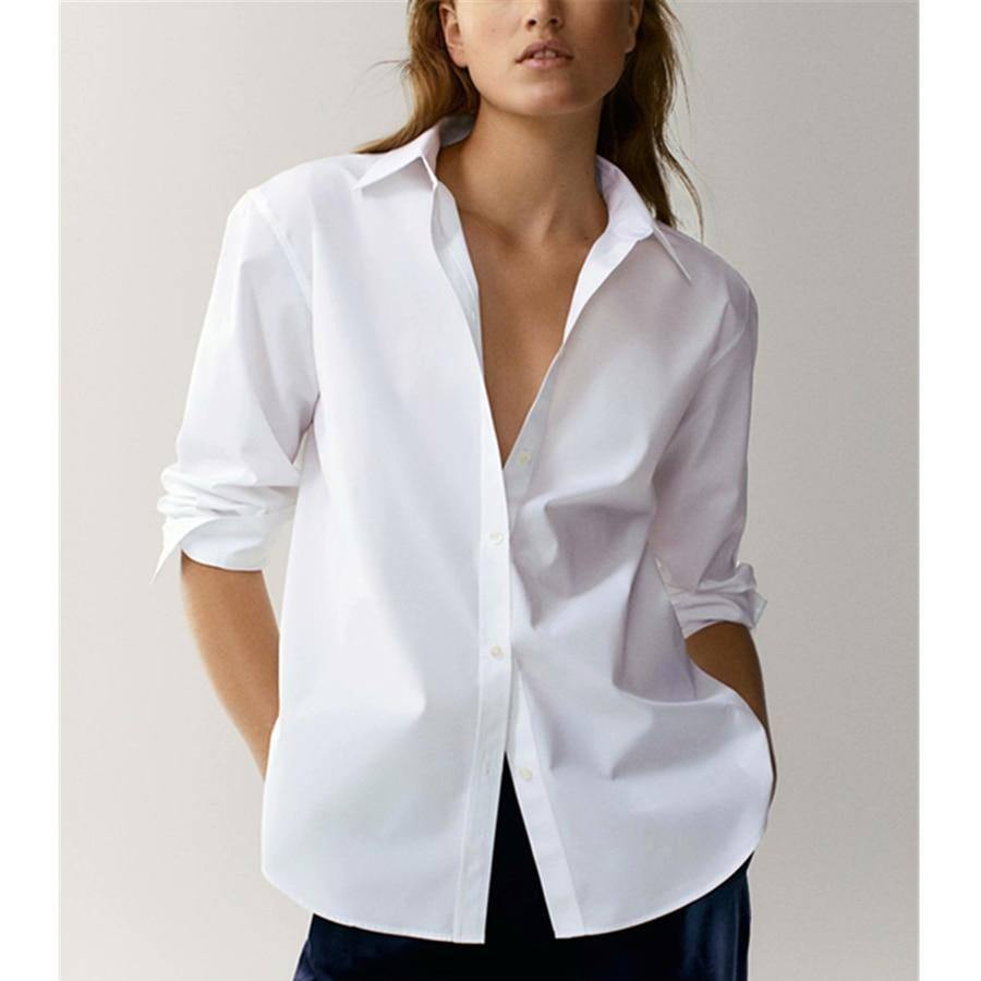 Withered England Style Office Lady Simple Fashion Poplin Solid White Blouse Women Blusas Mujer De Moda 2020 Shirt Women Tops | akolzol
